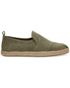 TOMS Deconstructed Alpargata Olive Washed Canvas Herre