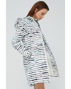 ECOALF PICTON  RAINCOAT PRINT WOMAN WHITE NAVY STRIPE